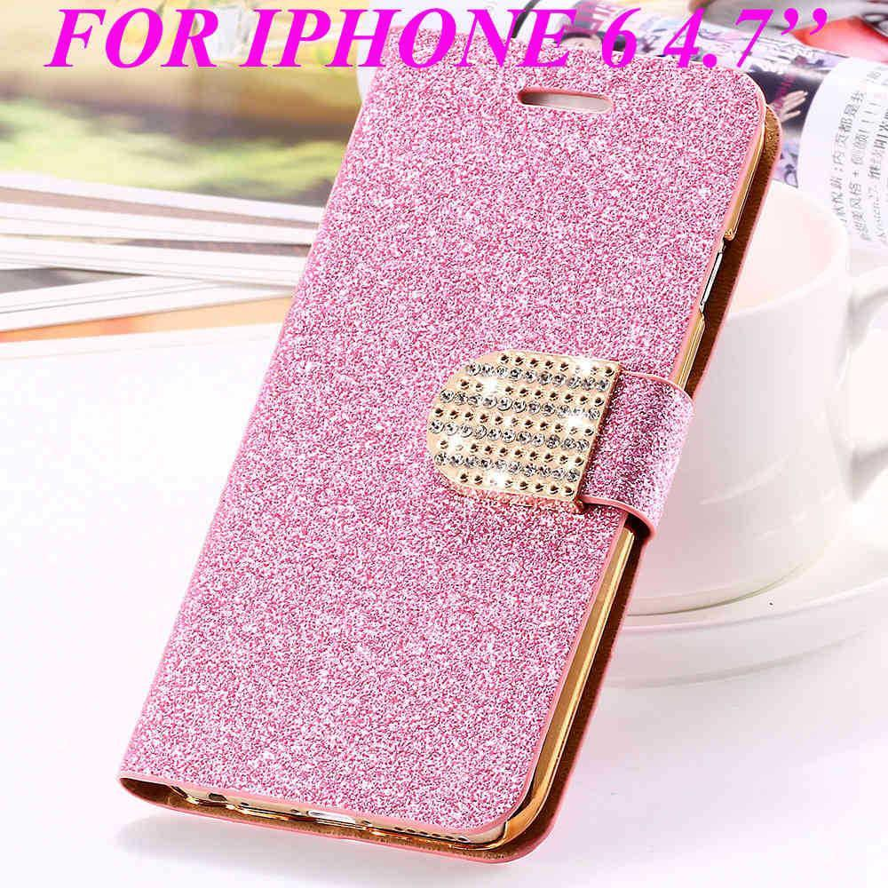 Cellphone Case - Golden Diamond Leather Case For Iphone 5 5s SE 6 6s