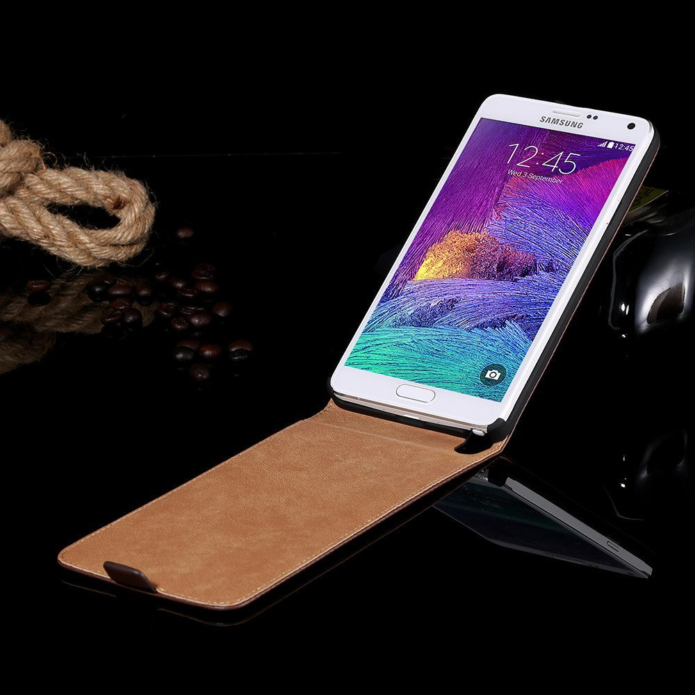 Cellphone Case - Leather Flip Vertical Full Sleeve Cover Case For Samsung Galaxy Note 4