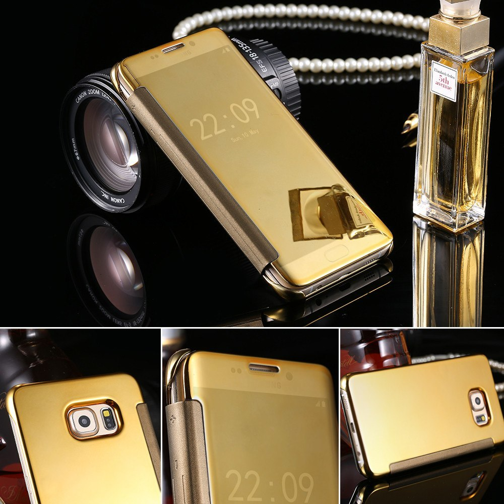 sports shoes 46415 f960a Ultra Thin Gold Plated Mirror Leather Case for Samsung Galaxy S6/Edge/Plus