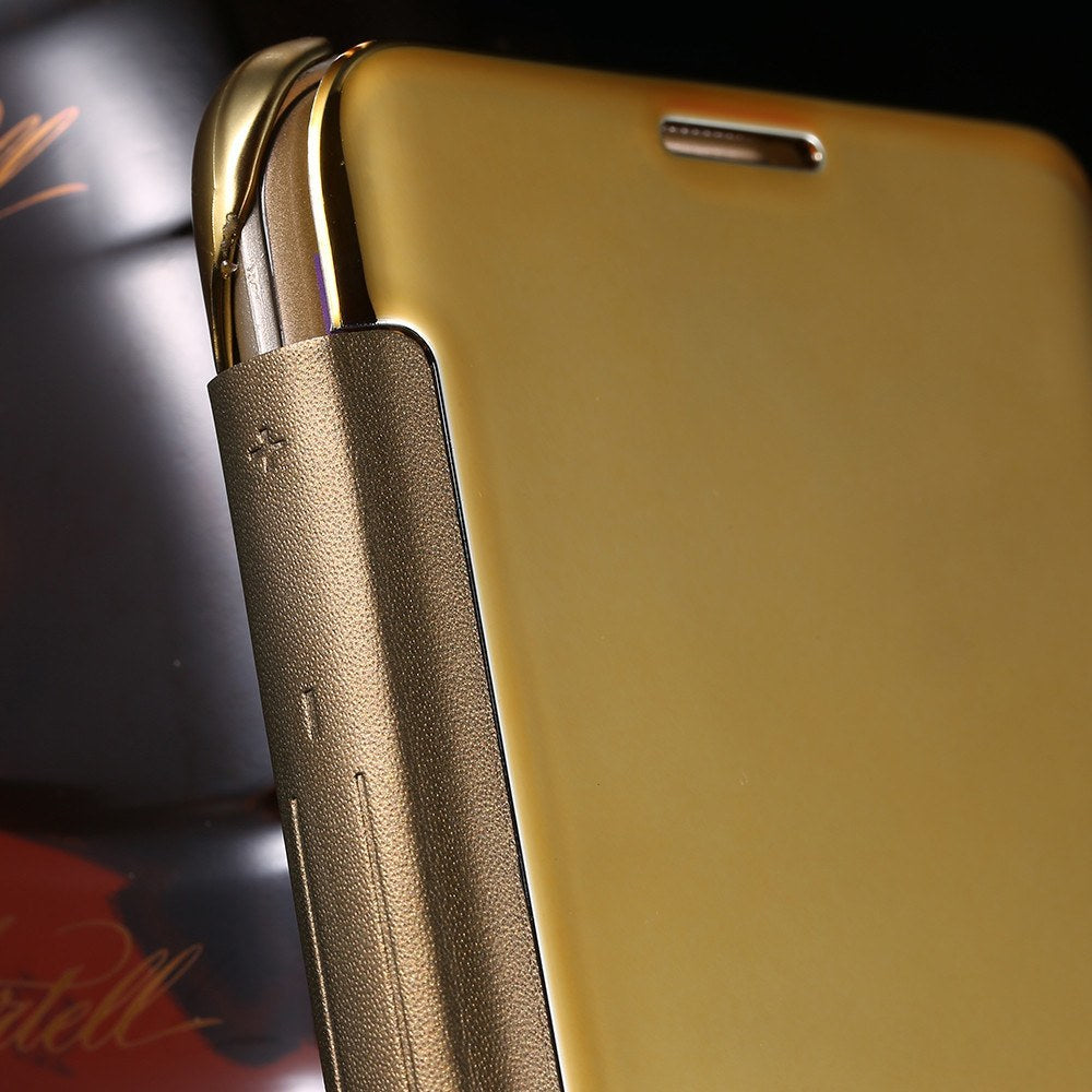 Cellphone Case - Ultra Thin Gold Plated Mirror Leather Case For Samsung Galaxy S6/Edge/Plus