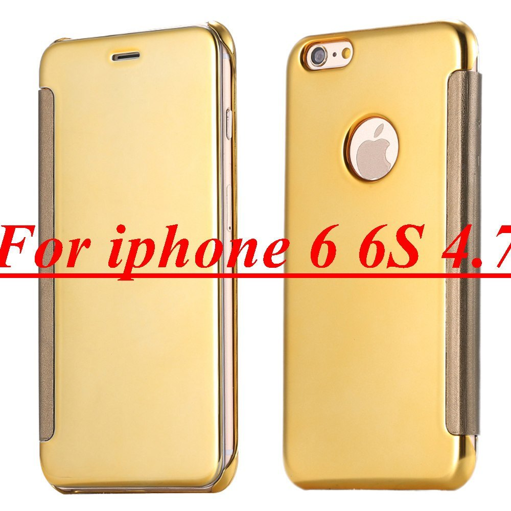 Cellphone Case - Ultra Thin Mirror Gold Plated Flip Case For IPhone 6 6s/Plus