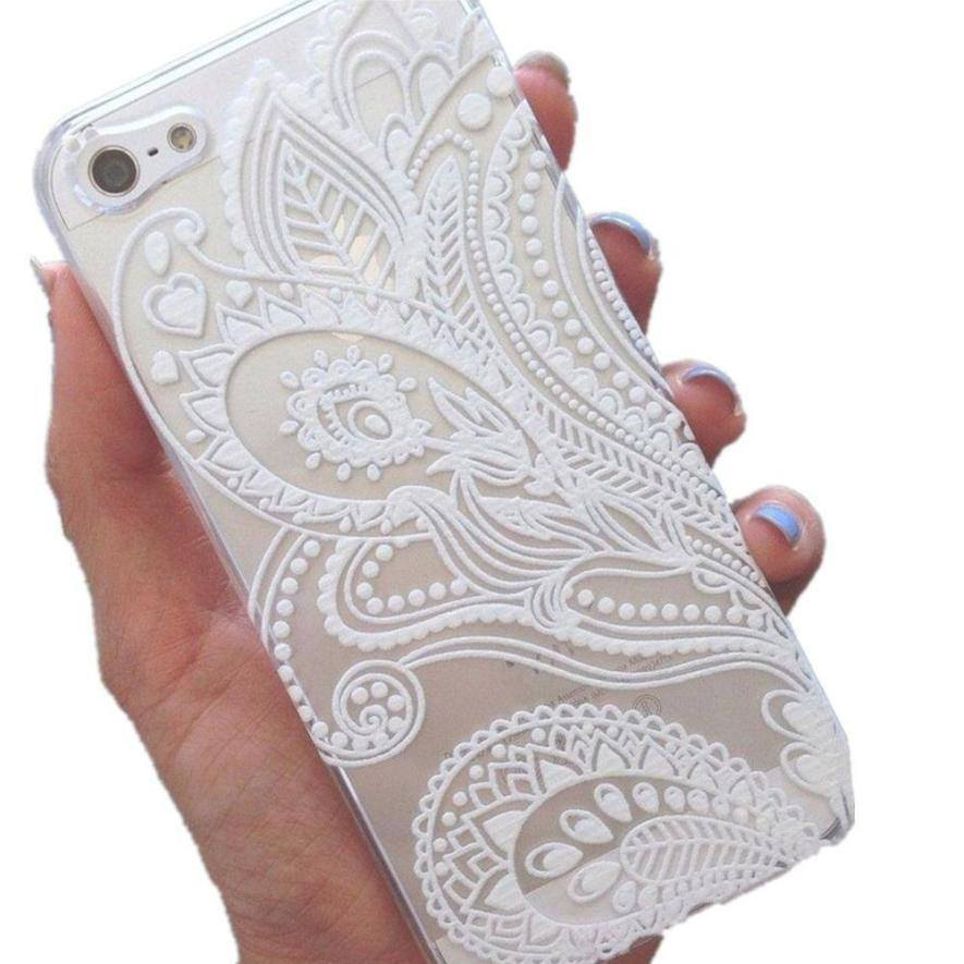Cellphone Case - White Floral Henna Plastic Cover Case  For Iphone 6s