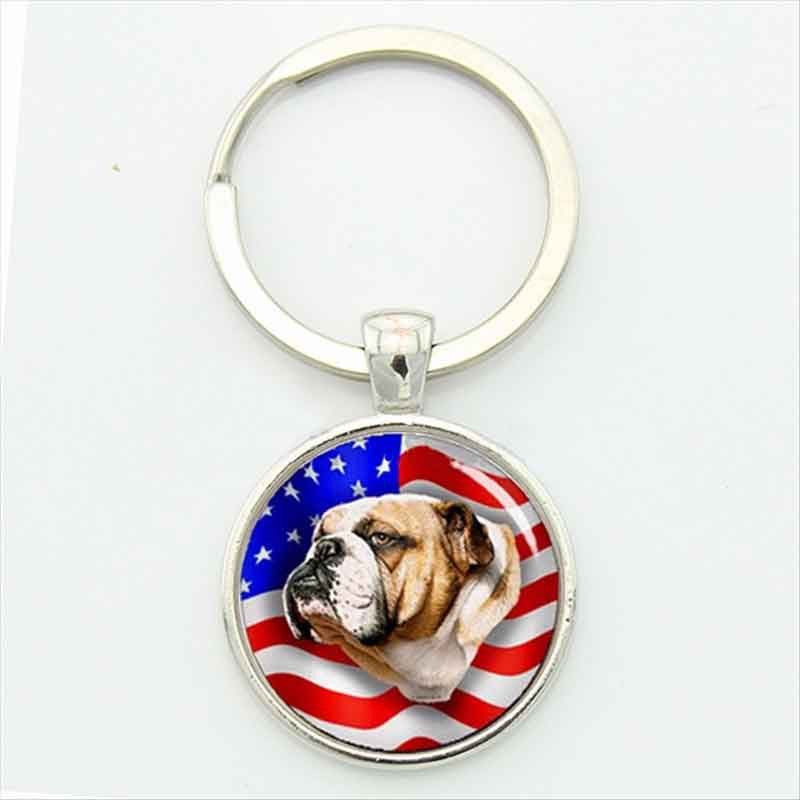 Novelty Bulldog Patriot US Flag Key Chain- FREE OFFER!