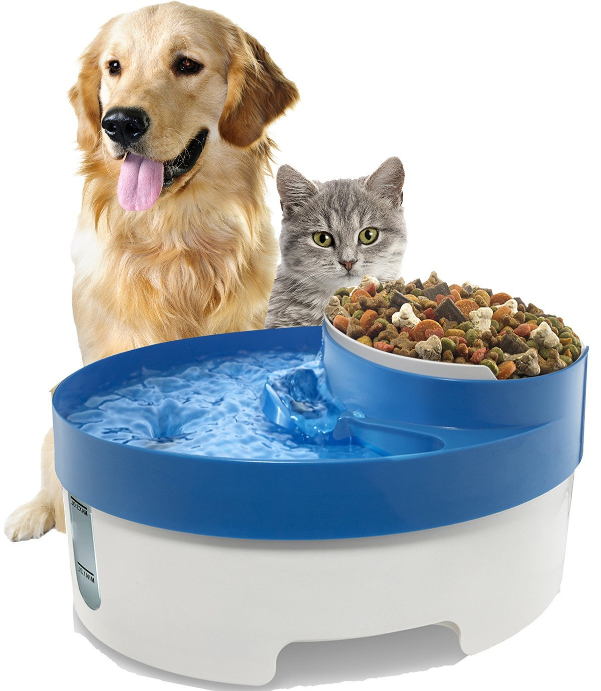 Dog & Cat Helpers - Pet Water Fountain For Cat Dog Automatic Food Bowl Dish Feeder Dispenser 3 In 1