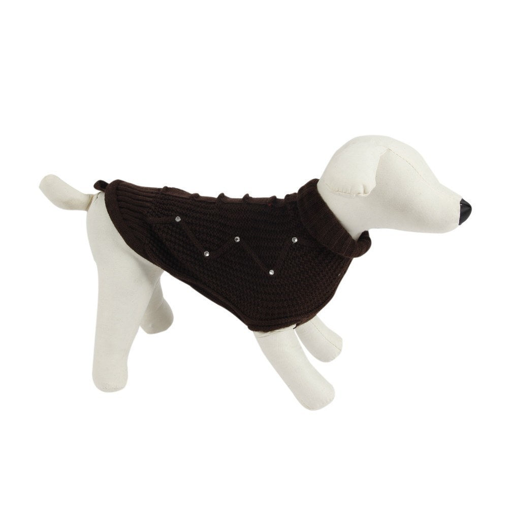 Dog Sweatshirts, Jumpsuits, Coats & Jackets - Diamond Studded Brown Dog Sweater