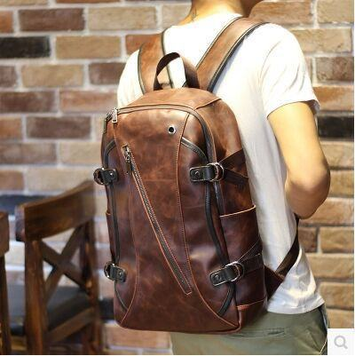 Genuine Vintage Leather Travel Backpack