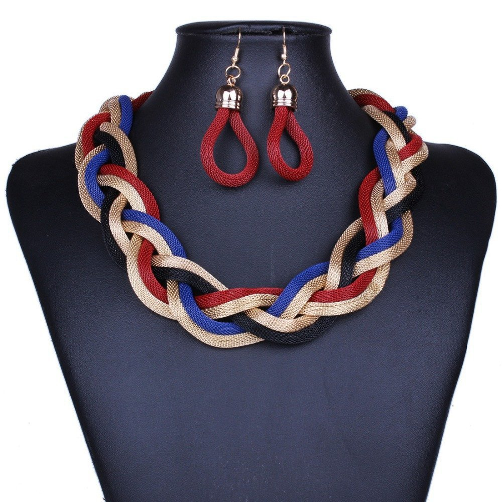 Jewelry Set - Multilayer Chain Short Twist Necklace And Earrings