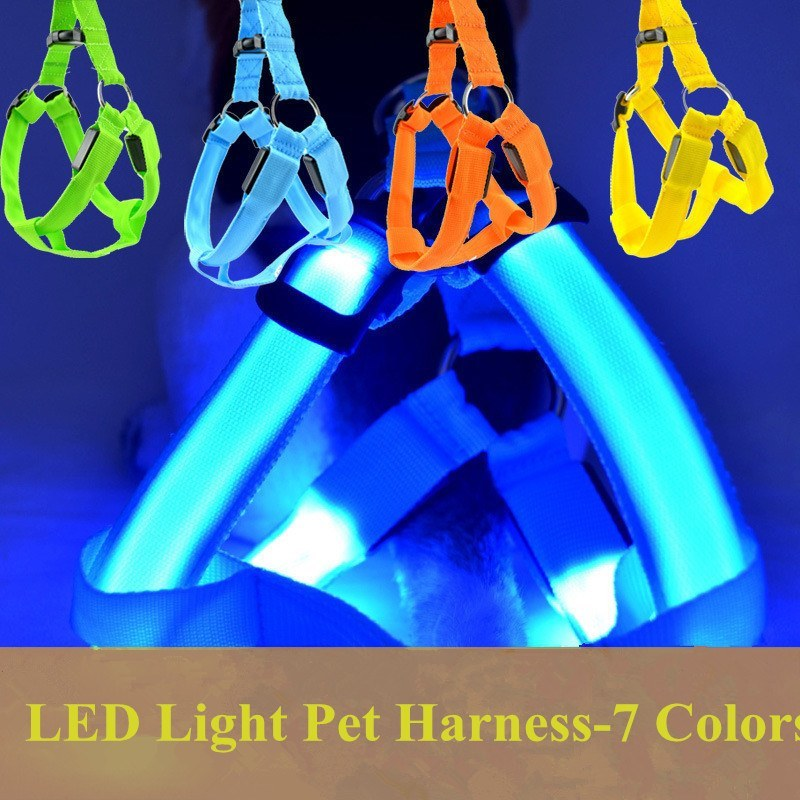 LED & Other Dog Collars, Leashes & Harnesses - Dog Harness With Flashing LED Lights