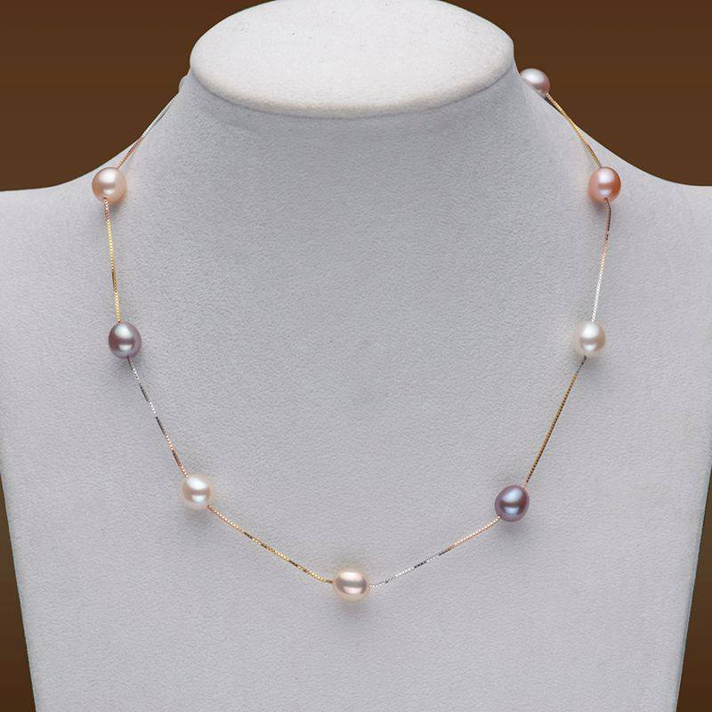 Necklace - 100% Natural Freshwater Pearl And 18K Gold Plated Choker Necklace