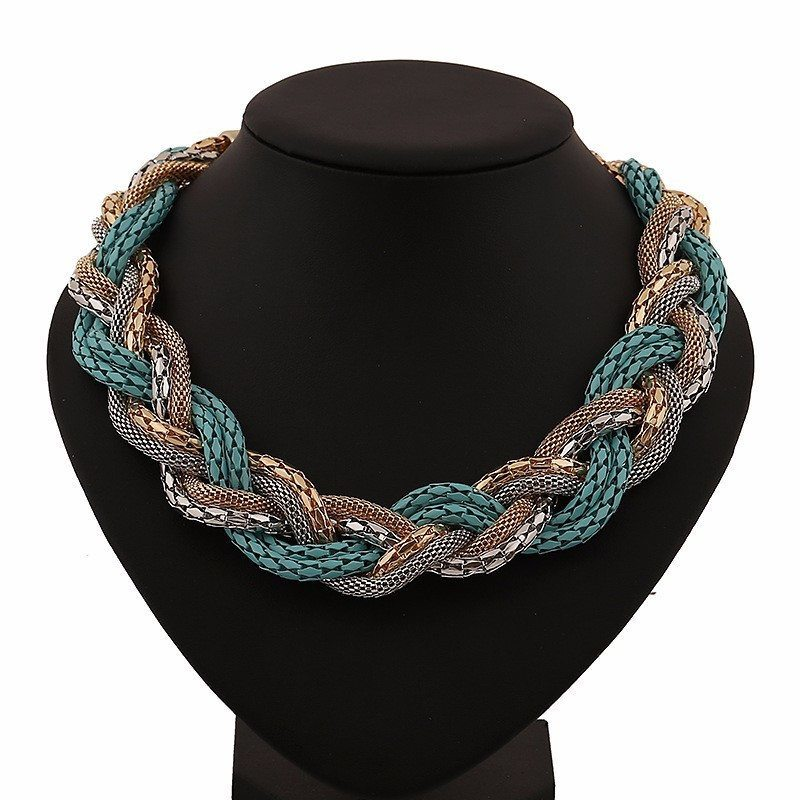 Necklace - Metal Chain Braid Twist Necklace