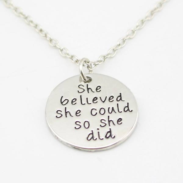 "Necklace - ""She Believed She Could So She Did""  Inspirational Necklace ~ Enjoy 1-6 Day Delivery"