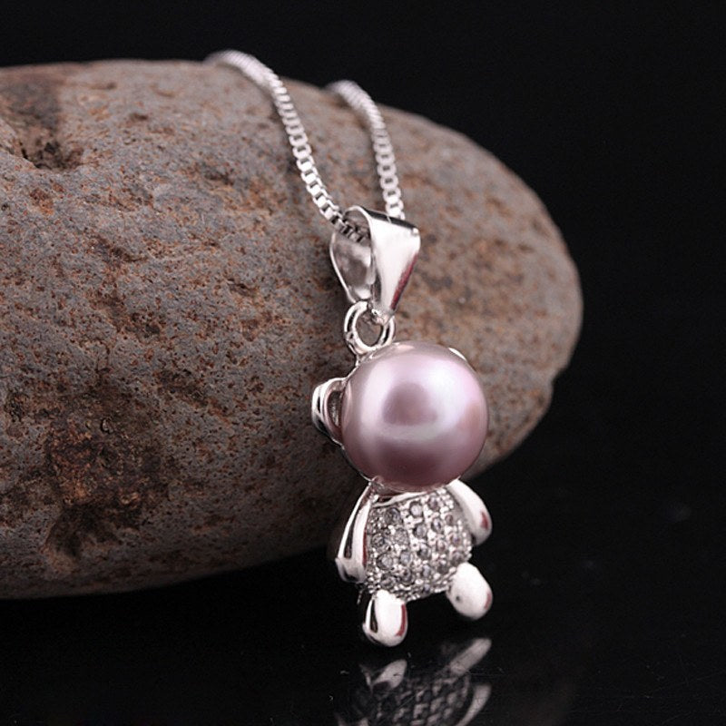 Necklace - Teddy Bear Natural Freshwater Pearl Necklace - Natural Colors Available ~ Enjoy 1-6 Day Delivery