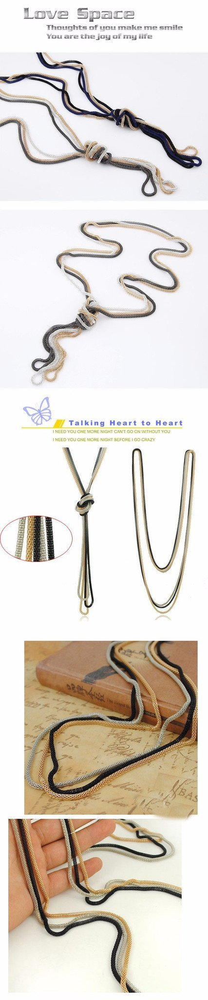 Necklaces - Metal Braid Twist Long Chain Necklace