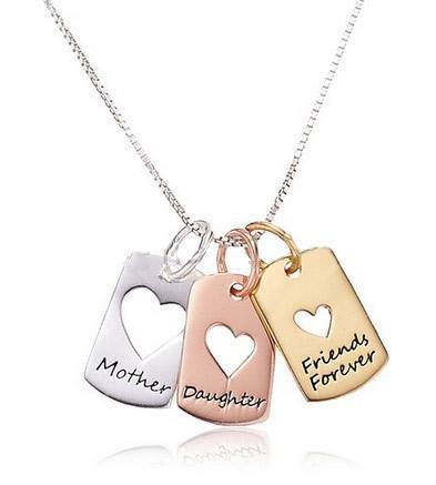 "Necklaces - ""Mother Daughter Friends Forever"" Charm Necklace Tri-color -Silver, Rose Gold & Yellow Gold ~ FREE SHIPPING ~ Enjoy 1-6 Day Delivery"