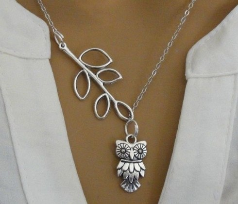 Necklaces - Owl & Leaf Necklace - 60% OFF!  Enjoy 1-6 Day Delivery