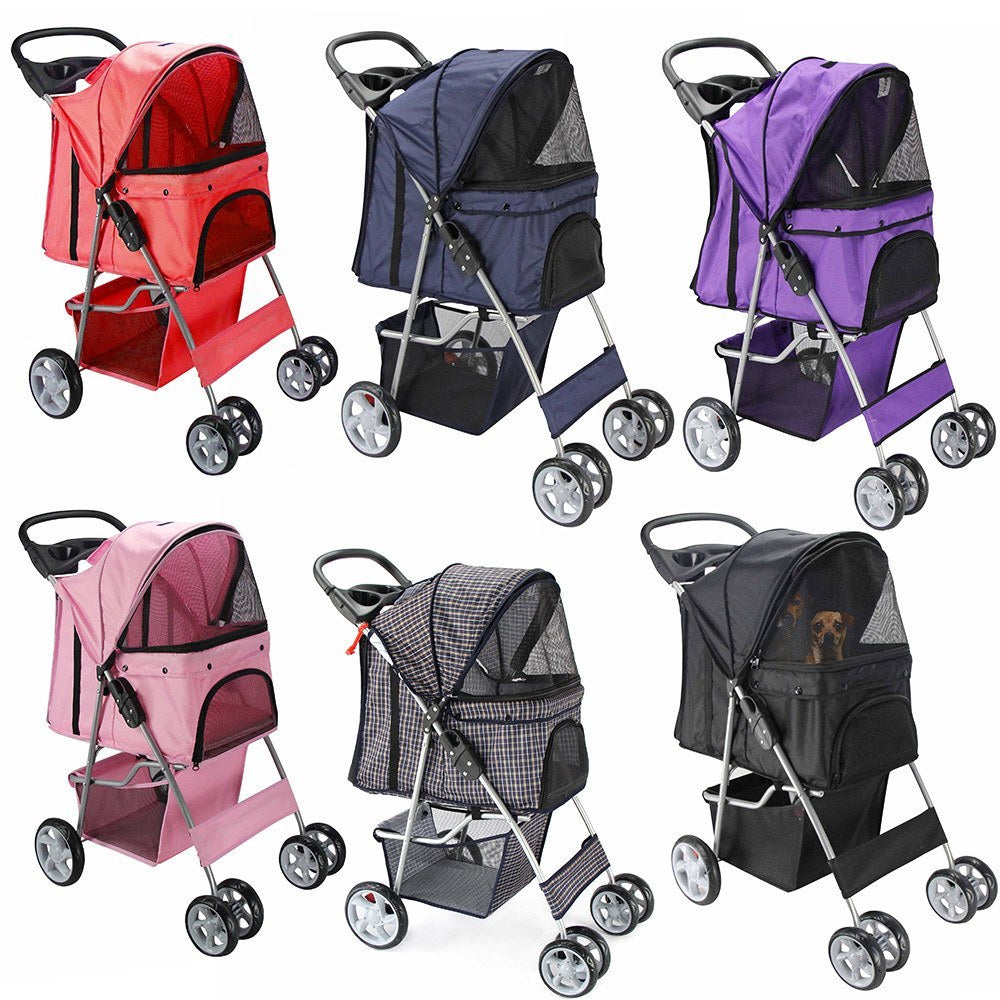 Pet Carriers - OxGord Pet Stroller Cat Dog 4 Wheeler Easy Walk Stroller Travel Folding Carrier