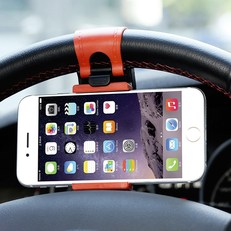 Phone Socket Holder - Car Steering Wheel Phone Socket Holder For IPhone, HTC M7 M8 M9 Samsung Galaxy S4 S5 S6 Edge