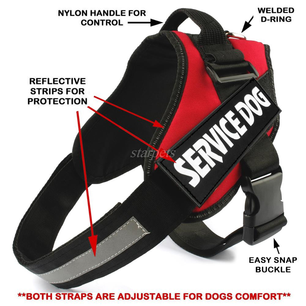Reflective Nylon Service Dog Harness and Training vest for Medium to Large Dogs