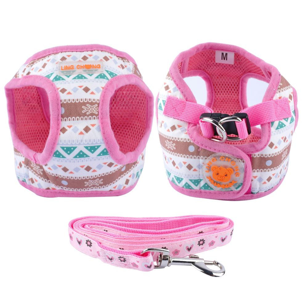 Cute Soft Small Pet Harness and Walking Leash Leads Set S M L XL