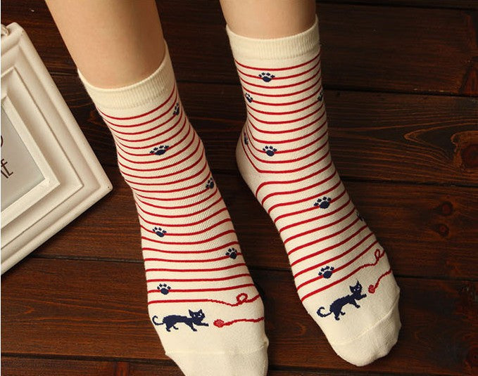 100% Cotton Striped Female Cat Socks - Free Offer!