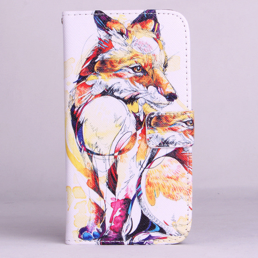 Fox Pattern Leather Stand Flip Wallet With Card Slots Case For LG Optimus G3 D855 D850