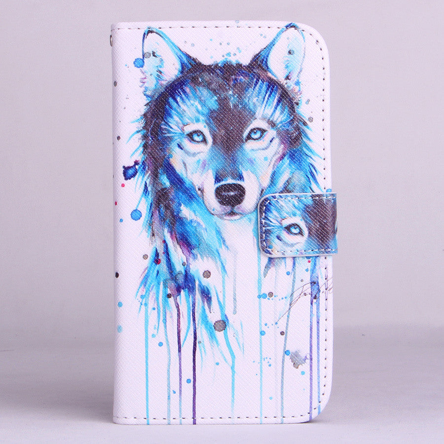 Blue Wolf Pattern Leather Stand Flip Wallet With Card Slots Case For LG Optimus G3 D855 D850