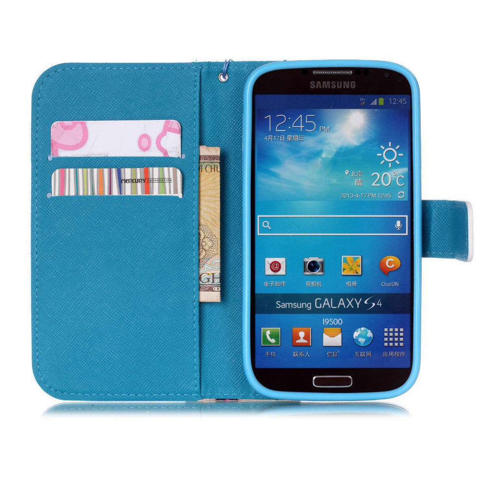 Colorful Flower Elephants Pattern PU Leather Flip Stand Wallet Wrist Strap Cover Case For Samsung Galaxy S IV S4 i9500
