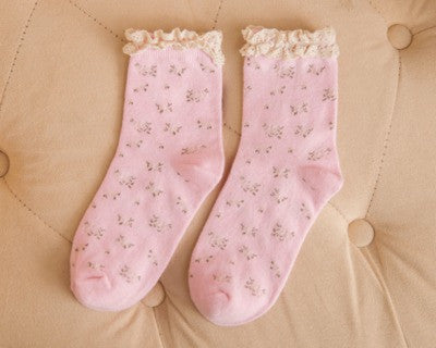 Candy Colored Lace Cotton Socks for Women