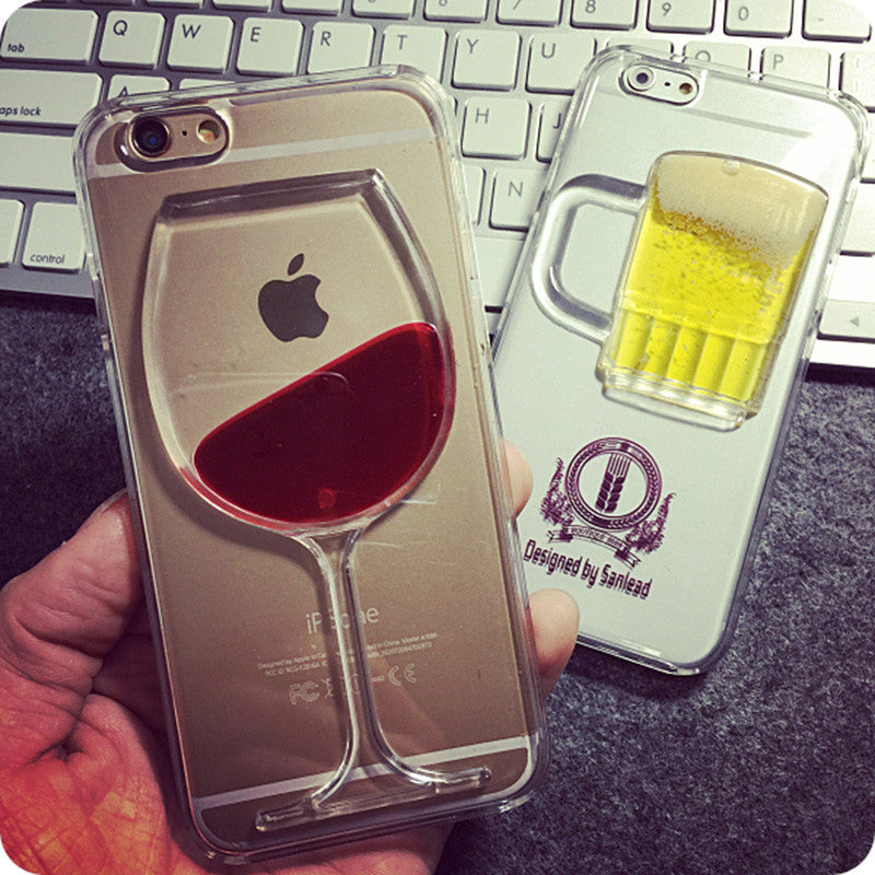Apple iPhone Red Wine Cup Liquid Transparent Case Cover For iPhone 4 to 6s Plus