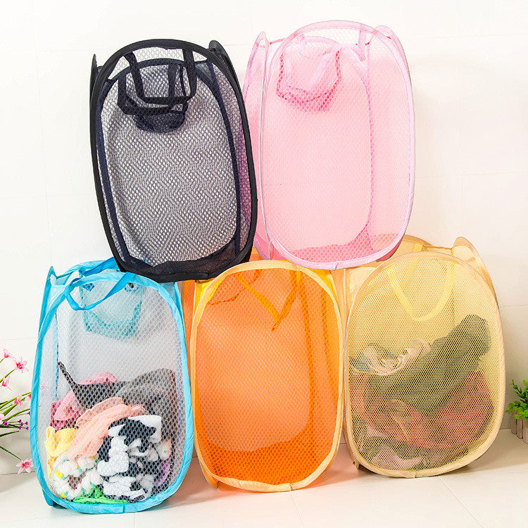 Folding Nylon Mesh Fabric Laundry Basket