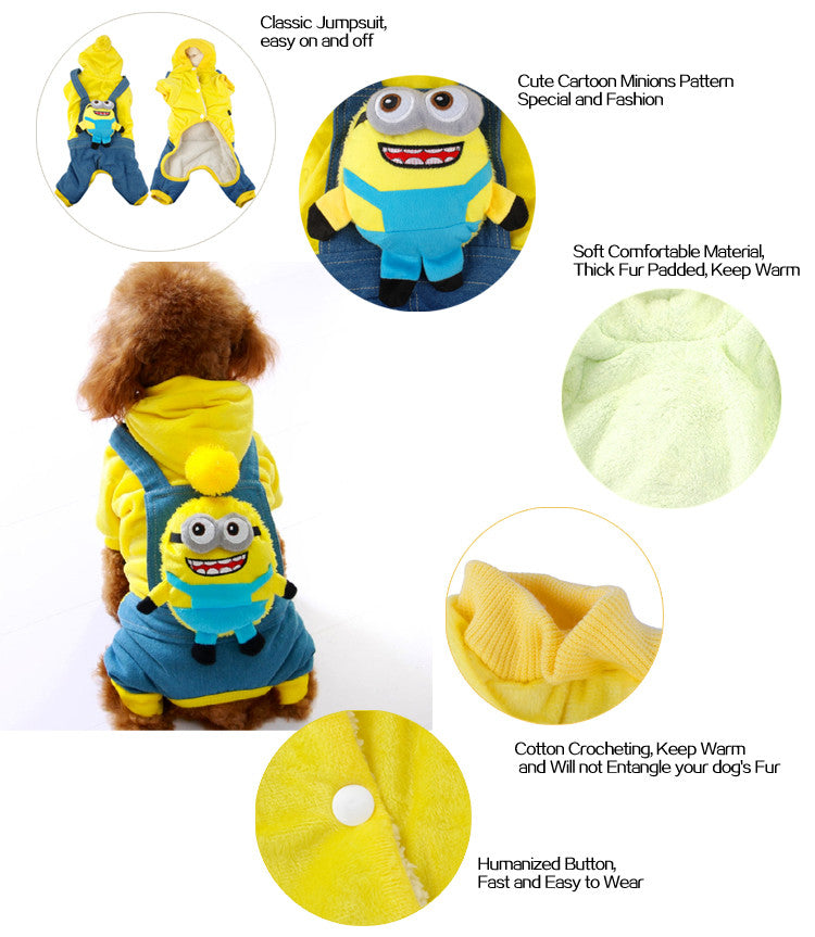 Cute Minions Pet Jumpsuit Coat S M L XL