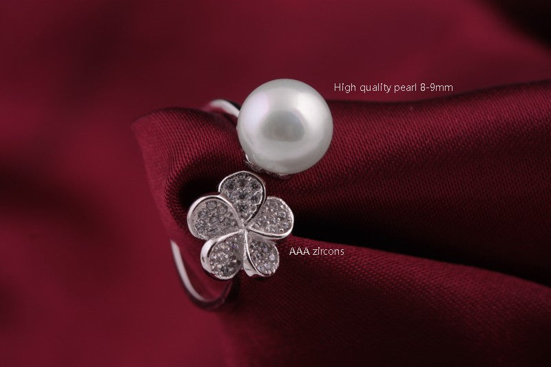 Freshwater Pearl Zircon Flower Ring