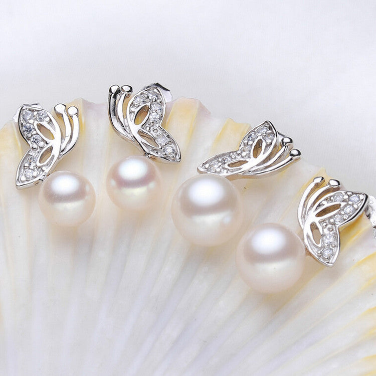 Real Freshwater Pearl Butterfly Stud Earrings