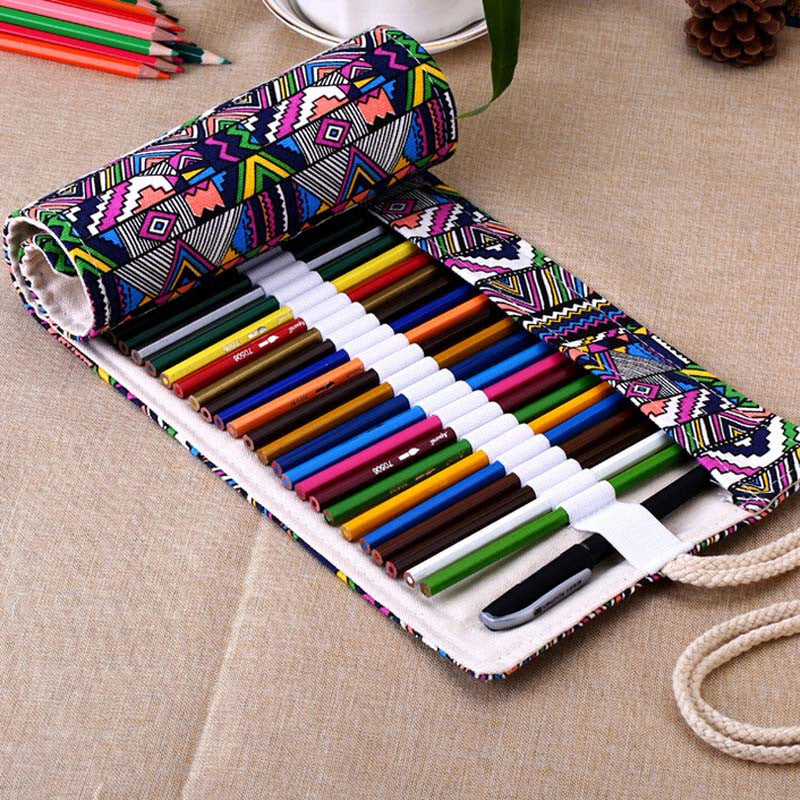 45% OFF!  Canvas Roll Up Pencil & Pen Case Holder