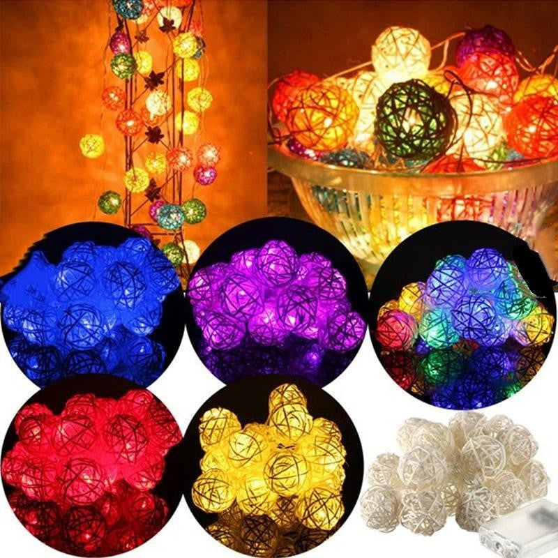 Holiday Fairy String Light - 20 LED Rattan