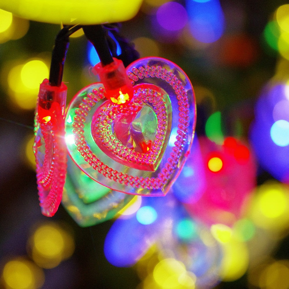 Heart Solar Power String Waterproof LED Lights