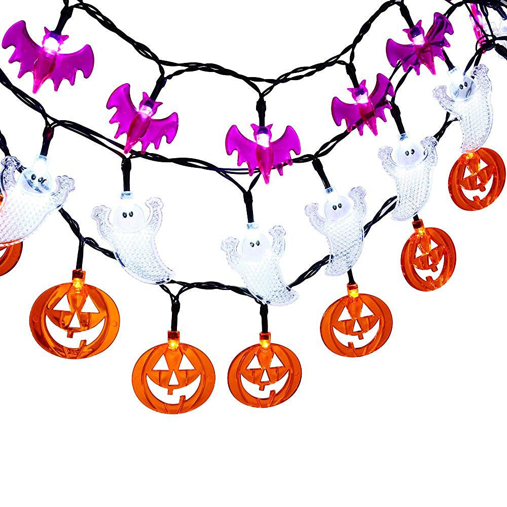 Halloween Lights White Crystal Ghost,  Orange Pumpkin & Purple Bat