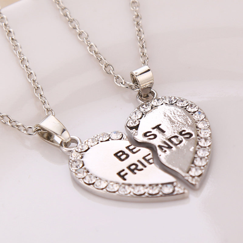 Gold Silver Charming Splice Best Friends Broken Heart Pendant