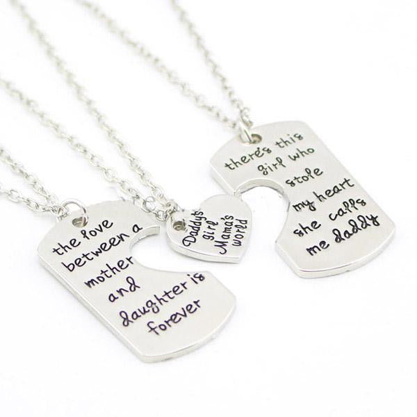 """Daddy's Girl, Mama's World""  Your choice of key chain set above, or a lovely necklace set for all 3!"