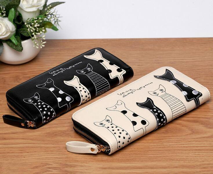 Purse/Bag Organizer - Elegant Cat Design Women's Wallet
