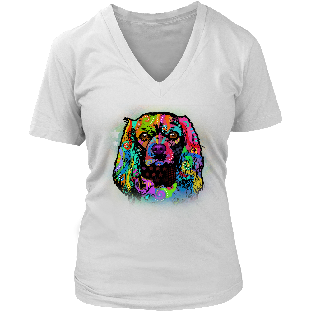 CAVALIER KING CHARLES SPANIEL V-Neck Tee, All Colors & Sizes