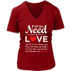 """All You Need is Love & My Dog"" - V-neck Red Heart, Wht"