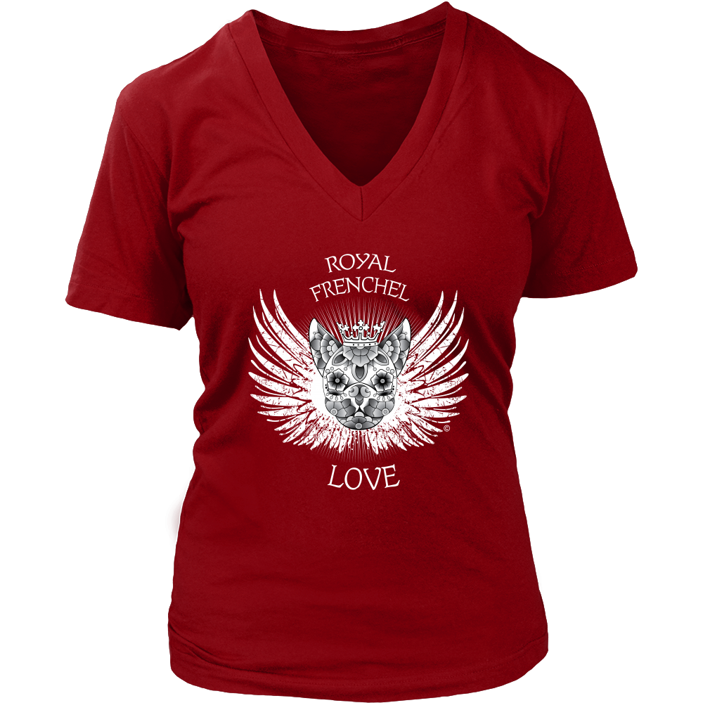 Royal Frenchel Love White- Women's V-Neck T-Shirt