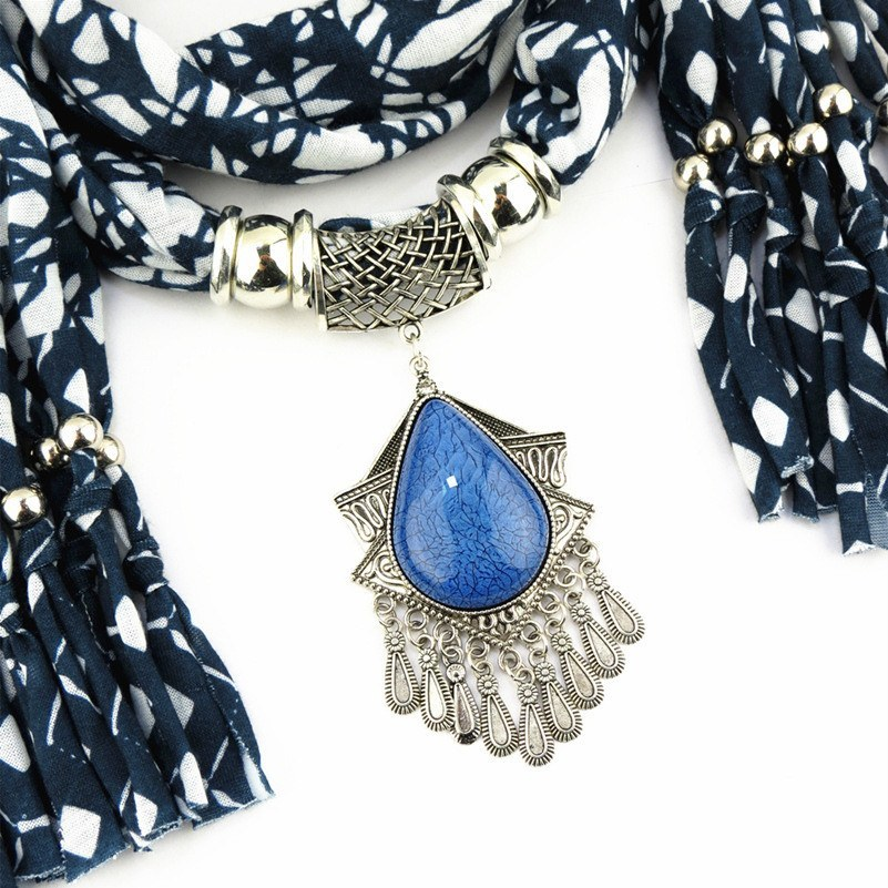 Scarves - Winter Printing Blue Scarf Necklace Bead Tassel