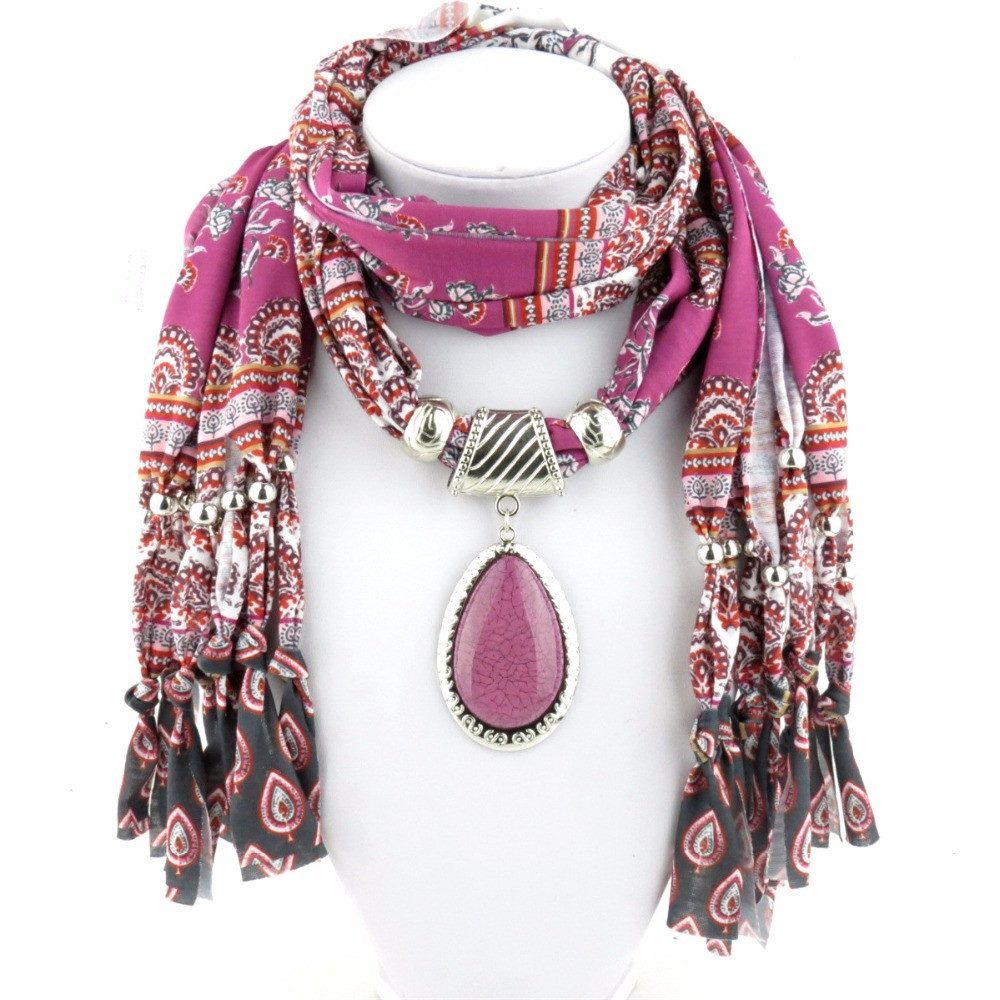 Scarves - Winter Printing Pink Scarf Necklace Bead Tassel