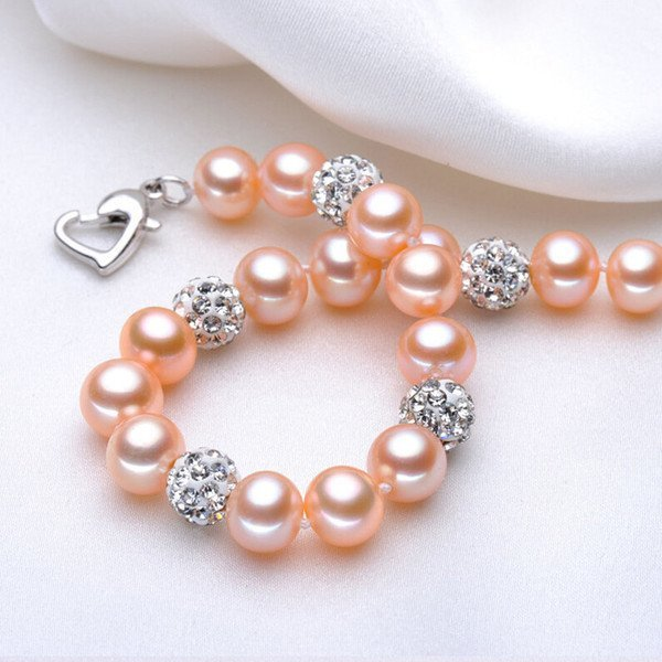Set - Freshwater Pearl And Crystal Charm Bracelet, Earrings, And Ring Set -White, Pink, Purple And Multi