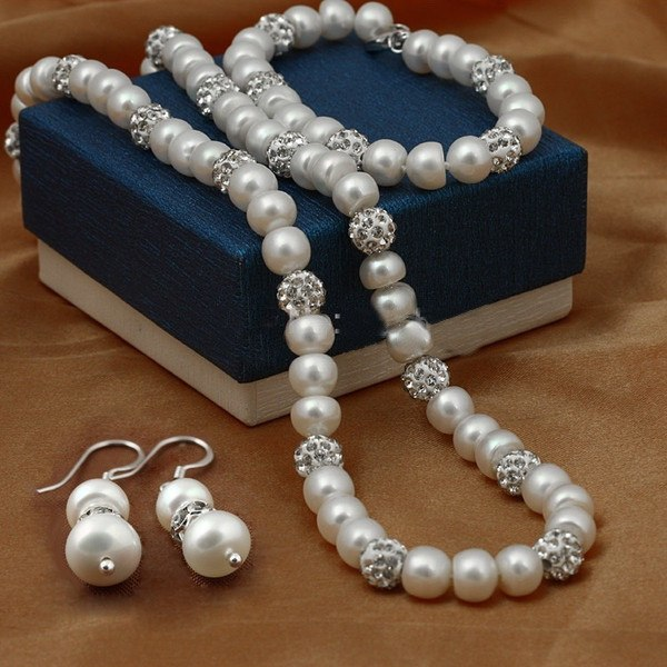 Set - Real Freshwater Pearl And Charm Jewelry Set Of Earrings, Necklace & Bracelet