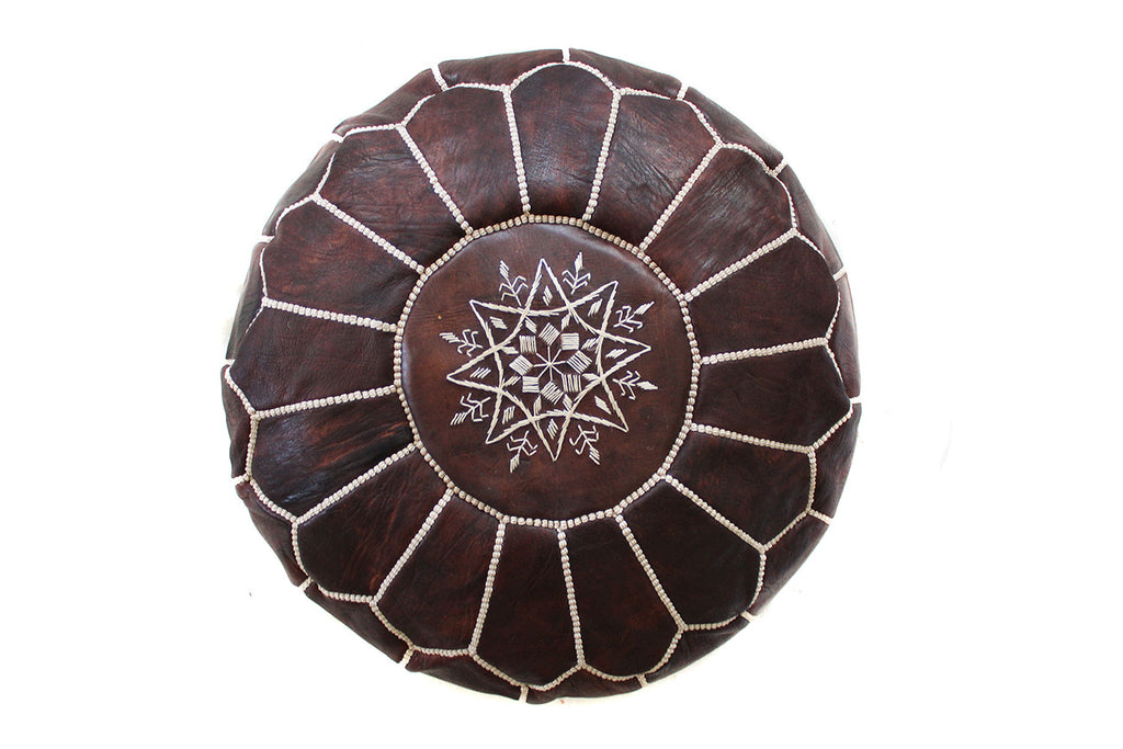 Dark Brown Leather Pouf