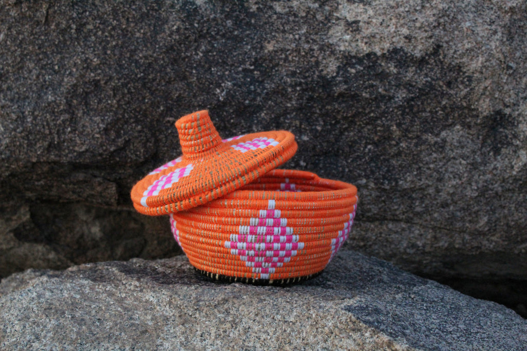 Short Orange Berber Basket