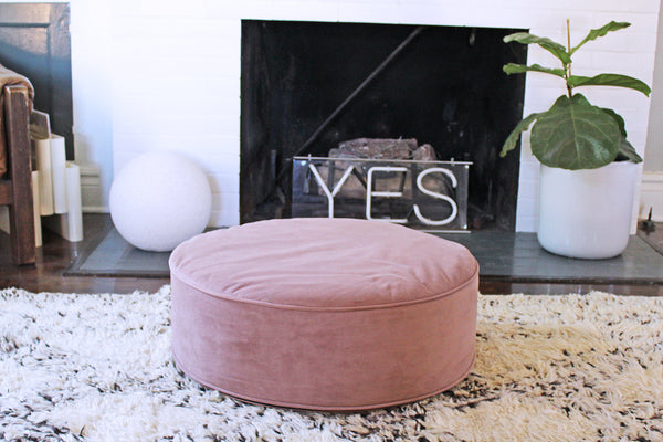 Dusty Pink Velvet Pouf